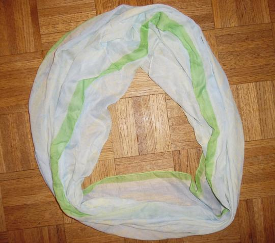 Other Pale Blue, Green & Ivory, Lightweight, Deer Woodland Wide Infinity Scarf