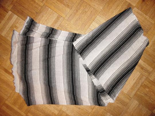 Other Black, White, Gray Striped Stretchy Long Scarf