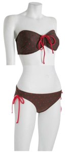 Shoshanna Chocolate Brown Red Hearts Bandeau Top String Bottom M/L DD D Cup