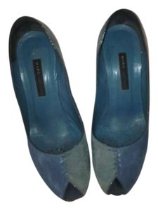 Marc Jacobs Leather Suede Deep Powder Blue Pumps