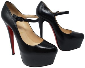 Christian Louboutin Ankle Strap Platform Mary Jane Daffodile Lady Daffodile Black Pumps