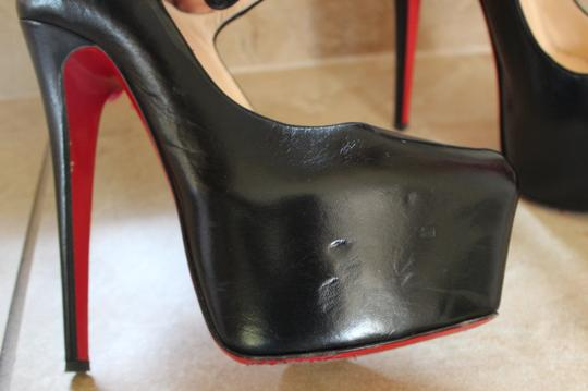 Christian Louboutin Leather Stiletto Ankle Strap Hidden Platform Platform Mary Jane Lady Daffodile Lady Daffodile Black Pumps