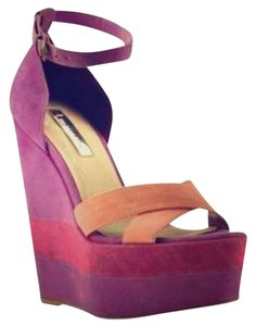 H By Halston Suede Wedge Ankle Strap Magenta Wedges