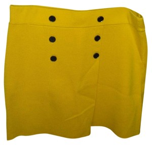 Ann Taylor LOFT Military Style With Buttons Skirt Yellow