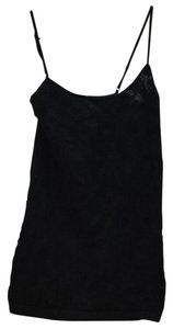bebe Lace Lace Trim Top Black