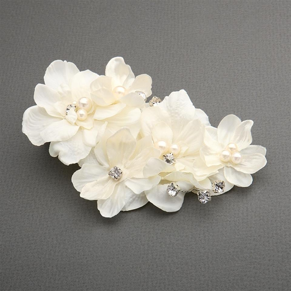 Mariell Ivory Silk Flower Pearl Crystal Vintage Clip 3920hc Hair