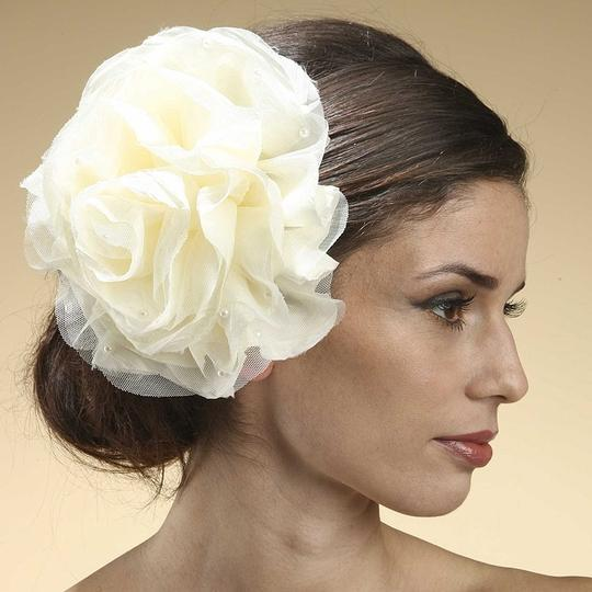 Mariell Ivory Silk Cabbage Rose Clip with Scattered Pearls 3342h-i Hair Accessory