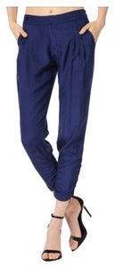 Parker Silk Cropped Light Summer Capris Navy Blue