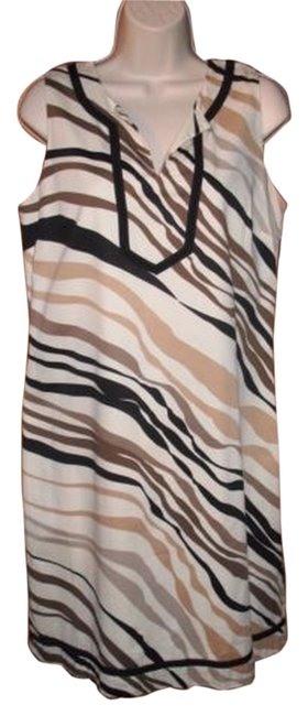Dana Buchman short dress Beige Striped Shift Animal Print Sleeveless on Tradesy