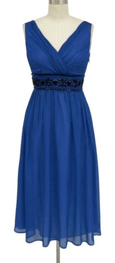 Royal Blue Chiffon Goddess Beaded Waist Formal Bridesmaid/Mob Dress Size 16 (XL, Plus 0x)