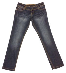 Blue Asphalt Denim Dark Navy Low Rise Straight Leg Jeans-Dark Rinse