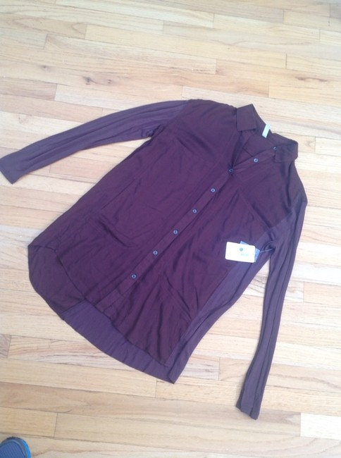 Free People Button Down Shirt Wine
