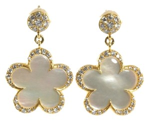 Aspery & Guldag Aspery & Guldag 18K Yellow Gold Diamond Mother of Pearl Flower Drop Earrings