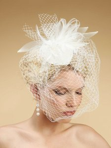 Mariell White Birdcage Cocktail Hat with Feathers 3333h Bridal Veil