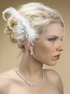 Mariell White Birdcage Lavish Swarovski Crystal and Pearl Feather Fascinator 3332h-w Bridal Veil