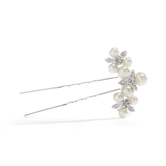 Mariell Silver Floral Trio Pin with Crystals Pearls 3588hs Hair Accessory