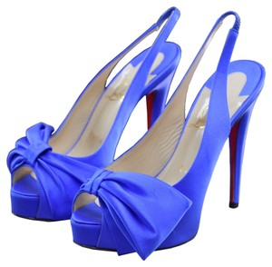Christian Louboutin Vendome Satin Heels Blue Pumps