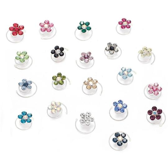 Mariell Prom Or Bridesmaid Crystal Flower Hair Spirals 383h-je