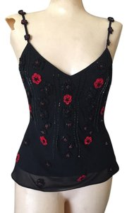 Sue Wong Beaded Embroidered Top Black
