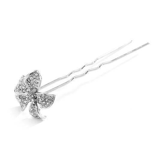Mariell Silver Pave Crystal Petals Stick Pin For Or Proms 4210hs Hair Accessory