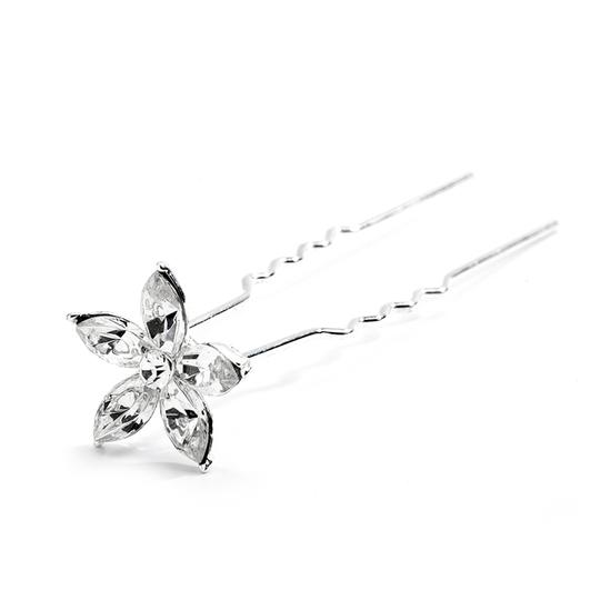 Mariell Crystal Marquis Flower Wedding Or Prom Hair Stick Pin 4214hs