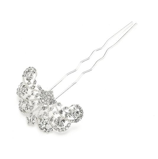 Mariell Silver Glamorous Gatsby Fan Shaped Crystal Prom Or Stick Pin 4225hs Hair Accessory