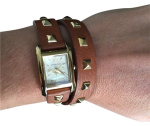 Michael Kors Michael Kors Brown Leather Studded Wrap Watch