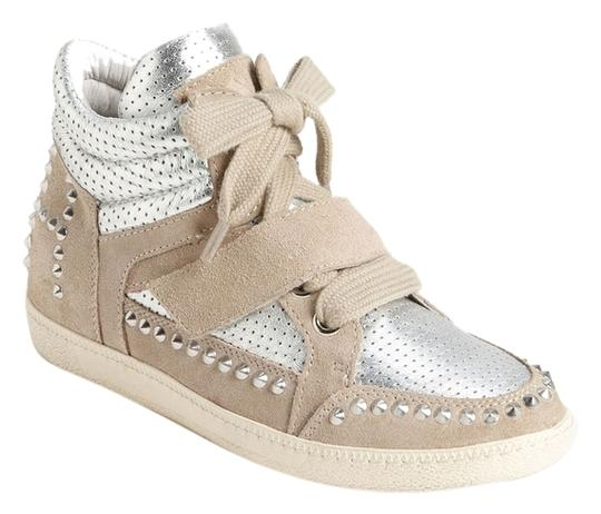 Ash Suede Leather Studded Velcro NEW silver Athletic