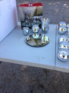 Silver Trio Candle Set W/ Mirror