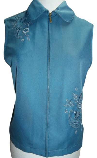 Alfred Dunner Petite Size Knit Back Embellished Embroidered Peter Pan Collar Casual Career Vest