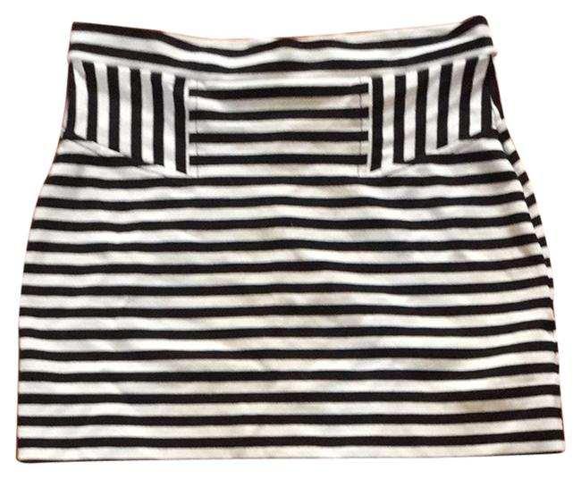 French Connection Skirt Black And White Stripe