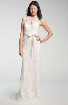 Theia Lace Overlay Cap Gown Wedding Dress