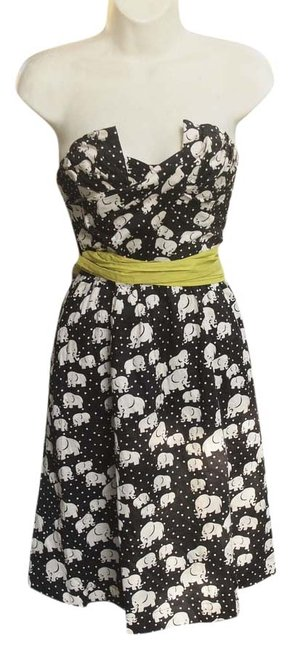 Anthropologie short dress black Elephant Porridge Anthro Animal Print Circle Skirt Strapless on Tradesy