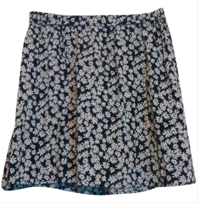 Lily Star Circle Floral Daisy Daisy Summer Mini Skirt Black and White