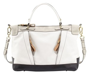 orYANY Leather Cross Strap Satchel in White, black, tan