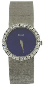 Piaget Piaget Lady's White Gold Lapis Lazuli Dial Diamond Bezel Wristwatch