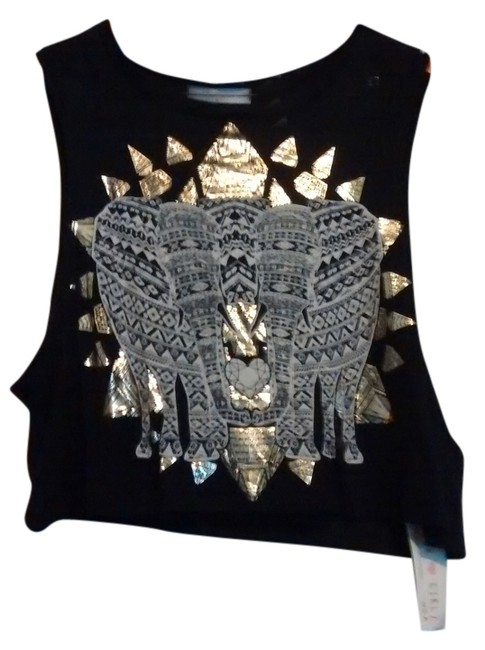 Preload https://item2.tradesy.com/images/four-girlz-crop-crop-tank-top-black-and-white-with-metallic-gold-accents-3762391-0-0.jpg?width=400&height=650