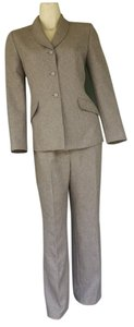 Le Suit LE SUIT Light Brown Tweed Pantsuit Pants Suit 8P Petite 8