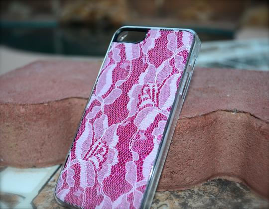 Other Brand New iPhone 5 5s Case Hot Pink Glitter White Flower Lace cell phone cover