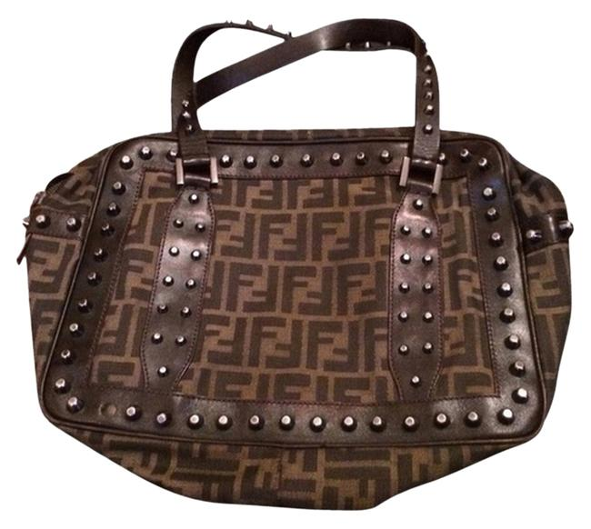 Item - Studded Zucca Brown and Black with Gunmet/Silver Studs Canvas Tote