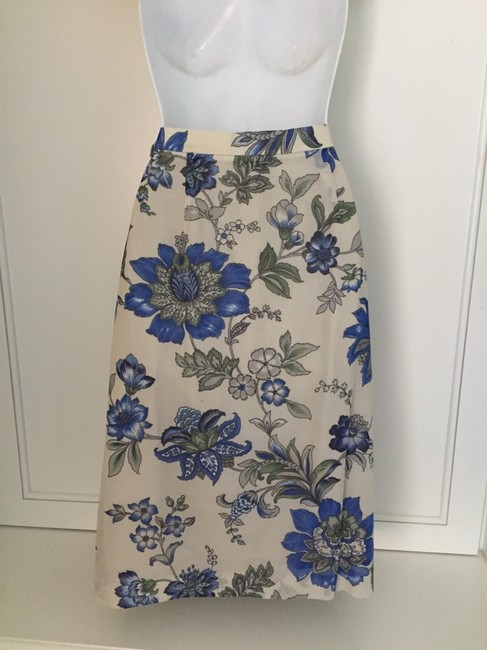 Geiger Collections Collections Floral Length Skirt Beige, blue, green