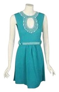Nanette Lepore short dress teal green Crochet Knit Sweater Beaded Keyhole Embroidered Blue Aqua Turquoise on Tradesy