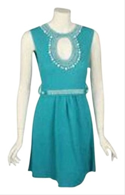 Nanette Lepore short dress teal green Crochet Knit Sweater Beaded Keyhole Embroidered Sundress Blue Aqua Turquoise on Tradesy