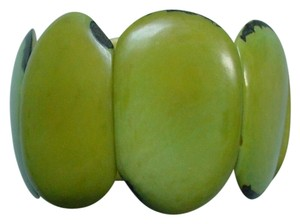 Chilewich Genuine Polished Green Seed Expandable Bracelet Made in Chile