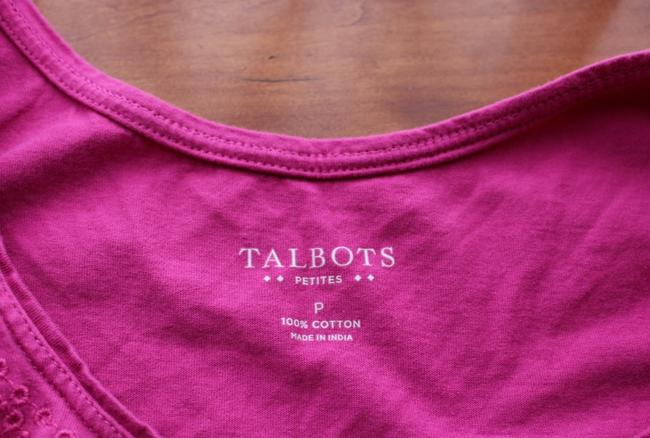 Talbots Embroidered Design Top Pink