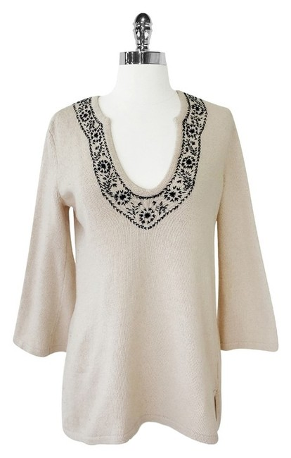 Joie Cotton Cashmere Embroidered Sweater
