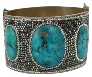 Natural Stone Cuff Bracelet Bangle Turquoise Quartz JTL01