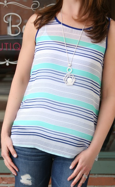 Jenny Boston Top MINT & NAVY STRIPED