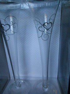"""Lillian Rose Clear/Silver 10"""" Toasting Flutes W/Silver Hearts"""