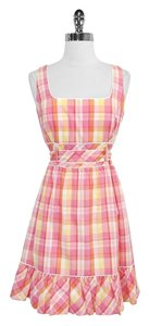 Lilly Pulitzer short dress Pink & Orange Plaid Cotton Tie Waist on Tradesy
